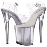 Transparente 20 cm Pleaser FLAMINGO-808MG sapatos de salto alto brilho
