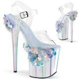 Transparente 20 cm Pleaser FLAMINGO-808SQFL sapatos de saltos pole dance