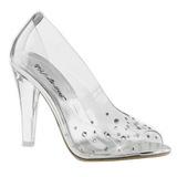Transparente Cristal 10,5 cm CLEARLY-420 sapato scarpin para noite de festa
