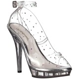 Transparente Cristal 13 cm LIP-183 sapato scarpin para noite de festa