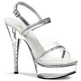 Transparente Pedra Cristal 15 cm DIAMOND-639 Sapatos Salto Alto
