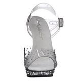 Transparente Strass 13 cm LIP-108RS Plataforma Sandálias Salto Agulha