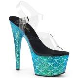 Turquesa 18 cm ADORE-708MSLG brilho plataforma sandálias mulher
