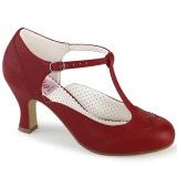 Vegan 7,5 cm FLAPPER-26 retro vintage scarpin salto alto vermelho