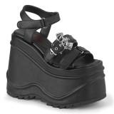 Vegan Preto 15 cm Demonia WAVE-13 lolita sandálias de cunha plataforma