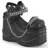 Vegan Preto 15 cm Demonia WAVE-20 lolita sandálias de cunha plataforma