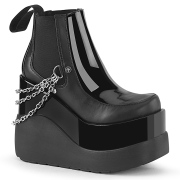 Veganos boots preto 13 cm VOID-50 demonia botas plataforma cunha