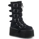 Veludo 9 cm DAMNED-225 plataforma botas mulher com fivelas