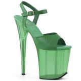 Verde 18 cm FLAMINGO-809T Acrílico plataforma salto alto mulher