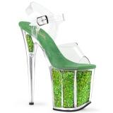 Verde 20 cm FLAMINGO-808GF brilho plataforma salto alto mulher