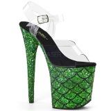 Verde 20 cm FLAMINGO-808MSLG brilho plataforma sandálias mulher