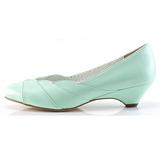 Verde 4 cm LULU-05 Pinup sapatos scarpin com saltos baixos