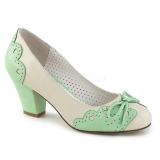 Verde 6,5 cm WIGGLE-17 Pinup sapatos scarpin com salto grosso