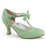 Verde 7,5 cm FLAPPER-11 Pinup sapatos scarpin com saltos baixos