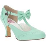 Verde 7,5 cm retro vintage FLAPPER-11 Pinup sapatos scarpin com saltos baixos