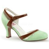 Verde 7,5 cm retro vintage FLAPPER-27 Pinup sapatos scarpin com saltos baixos