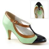 Verde 8 cm retro vintage PEACH-03 Pinup sapatos scarpin com saltos baixos