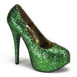 Verde Glitter 14,5 cm Burlesque BORDELLO TEEZE-06G Plataforma Scarpin Salto Alto