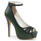 Verde Imitação Couro 13,5 cm BELLA-31 sapatos scarpin aberto na frente