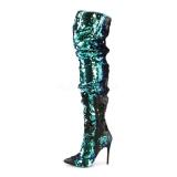 Verde Lantejoulas 13 cm COURTLY-3011 Botas altas pleaser