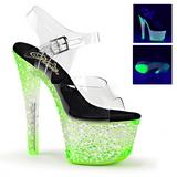 Verde Neon 18 cm Pleaser CRYSTALIZE-308PS Plataforma Salto Agulha
