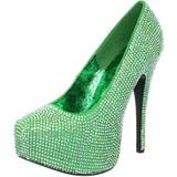 Verde Pedra Cristal 14,5 cm Burlesque TEEZE-06R Plataforma Scarpin Salto Alto