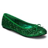 Verde STAR-16G brilho sapatas da bailarina mulher baixos altos