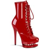 Vermelho 15,5 cm BLONDIE-R-1020 botinha femininos com cadarco salto alto em verniz