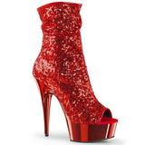 Vermelho 15 cm DELIGHT-1008SQ botinha mulher com lantejoulas