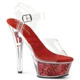 Vermelho 15 cm KISS-208GF brilho plataforma sandálias mulher