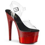 Vermelho 18 cm ADORE-708-2HGM Sapatos plataforma de salto glitter
