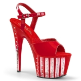 Vermelho 18 cm ADORE-709VLRS Plataforma sapatos de salto com strass