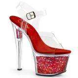 Vermelho 18 cm SKY-308GF brilho plataforma sandálias mulher
