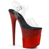 Vermelho 20 cm FLAMINGO-808-2HGM brilho plataforma sandálias mulher