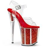 Vermelho 20 cm FLAMINGO-808G Glitter Plataforma Salto Agulha