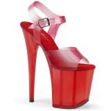 Vermelho 20 cm FLAMINGO-808N-T sandálias pleaser com plataforma