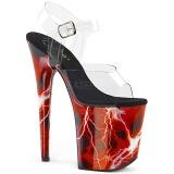 Vermelho 20 cm FLAMINGO-808STORM Holograma plataforma salto alto mulher