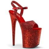 Vermelho 20 cm FLAMINGO-810LG brilho plataforma salto alto mulher
