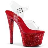 Vermelho 20 cm SKY-308LG brilho plataforma salto alto mulher