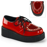 Vermelho 5 cm CREEPER-108 sapatos creepers rockabilly plataforma