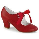 Vermelho 6,5 cm WIGGLE-32 retro vintage sapatos maryjane com salto grosso
