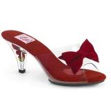 Vermelho 7,5 cm BELLE-301BOW Tamancos de salto com gravata borboleta