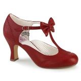 Vermelho 7,5 cm retro vintage FLAPPER-11 Pinup sapatos scarpin com saltos baixos