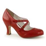 Vermelho 7,5 cm retro vintage FLAPPER-35 Pinup sapatos scarpin com saltos baixos