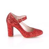 Vermelho 9 cm SABRINA-07 sapatos scarpin com salto grosso