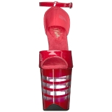 Vermelho Acrílico 20 cm FLAMINGO-889LN Sandália Feminina Salto Alto