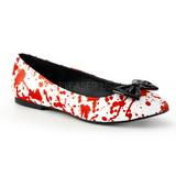 Vermelho Branco VAIL-20BL gotico sapatas da bailarina baixos altos