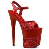 Vermelho Brilho 20 cm Pleaser FLAMINGO-809-2G Saltos Altos Plataforma