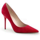 Vermelho Camurça 10 cm CLASSIQUE-20 Sapatos Scarpin Salto Agulha