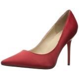 Vermelho Cetim 10 cm CLASSIQUE-20 Sapatos Scarpin Salto Agulha
